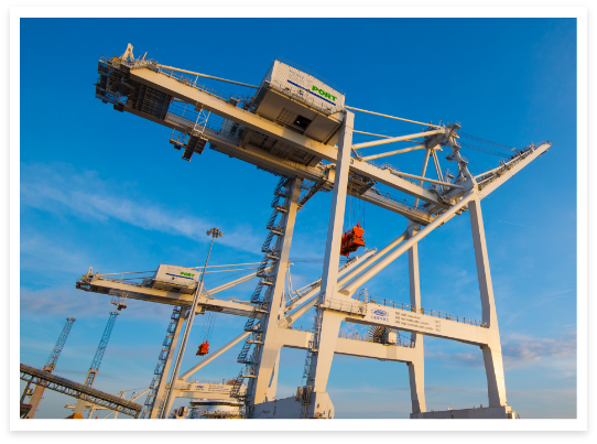 The Port Gantry Crane and a blue sky