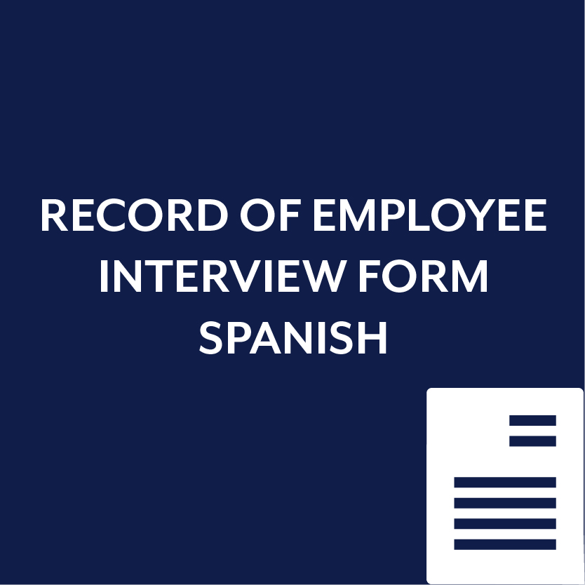 Record of Employee Interview Form in Spanish
