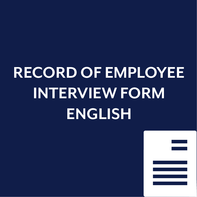 Record of Employee Interview Form in English