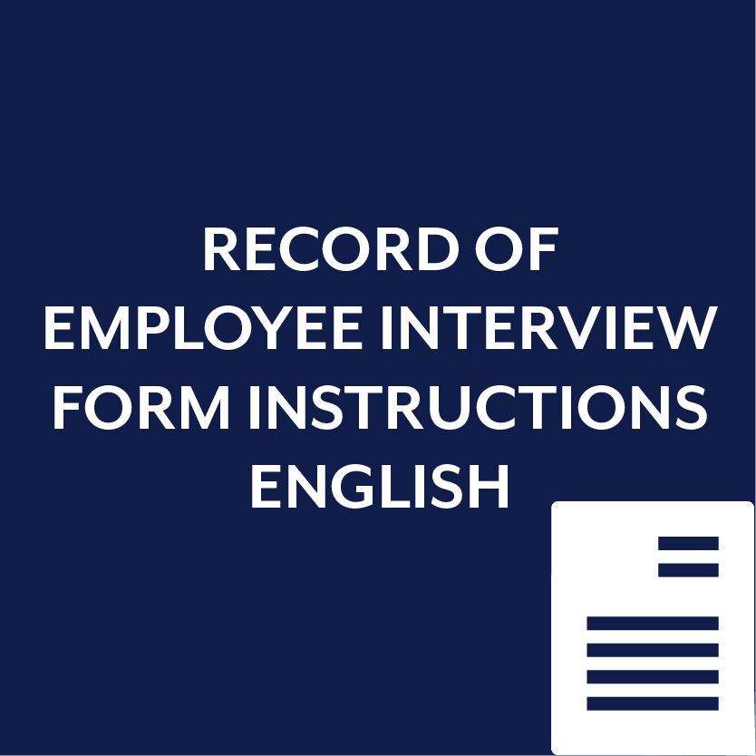 Request of Employee Interview Form Instructions in English